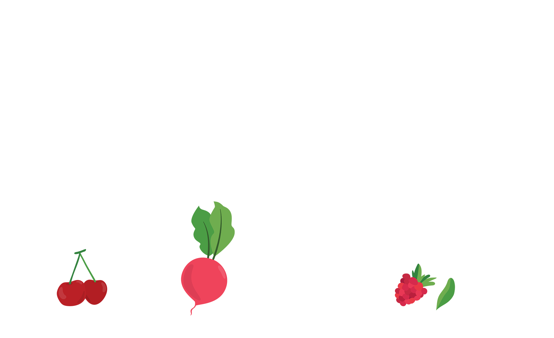 Cherries, radishes, and berries