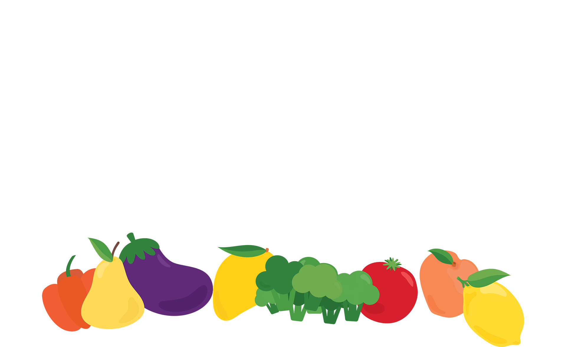 Horizontal grouping of fresh fruits and fresh vegetables