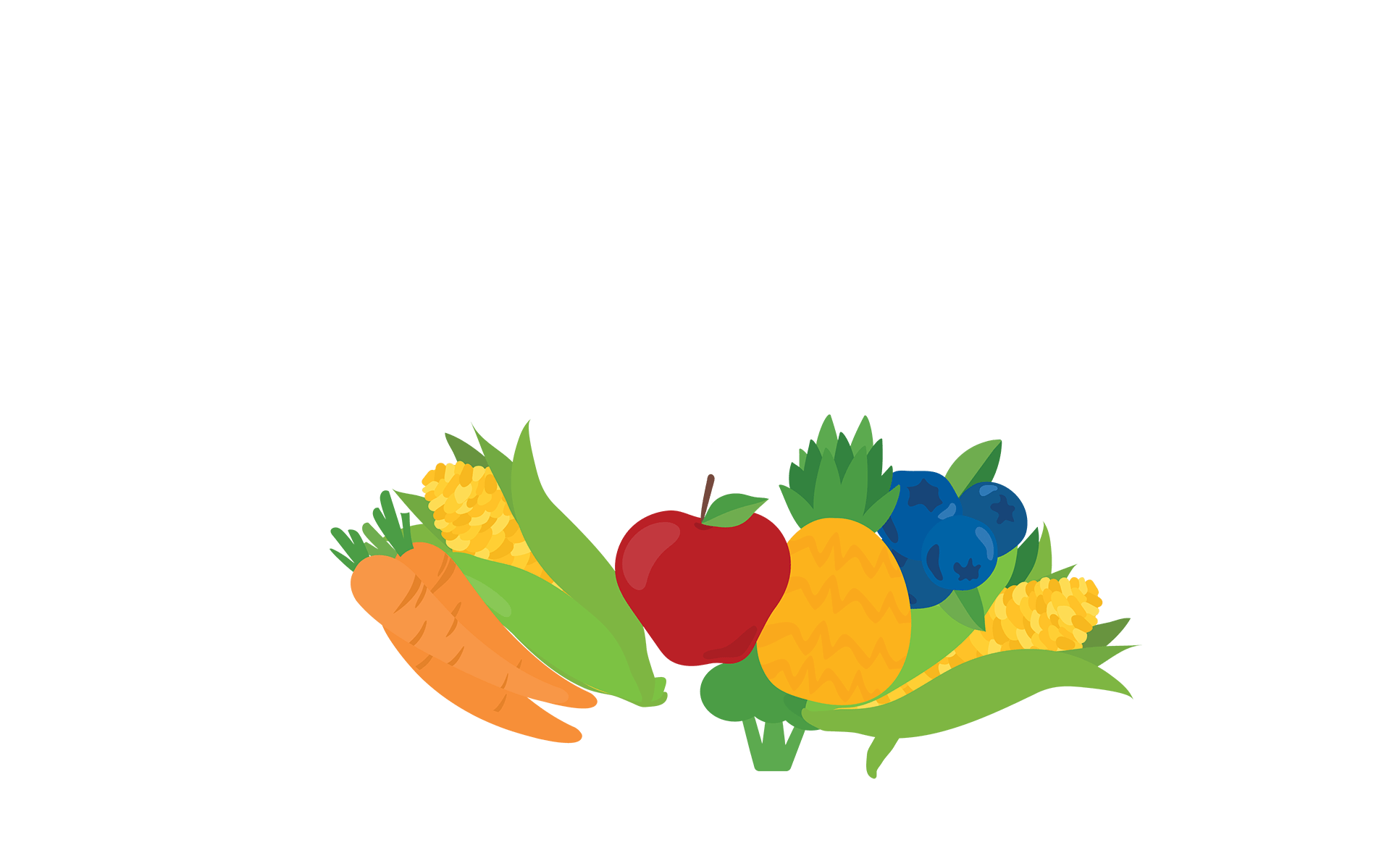 Grouping of fresh fruits and fresh vegetables